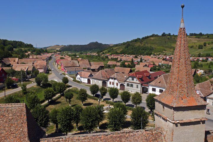 Blick über Meschen vom Burgturm