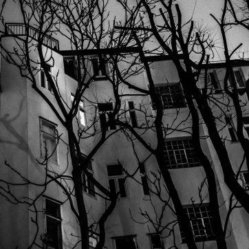 Wiener Hinterhof bei Nacht