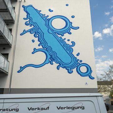 """""""Viva Con Agua"""" ist die Wanddekoration betitelt - passt super zur Gebhardtstraße und der vom Wasser geprägten Umgebung..."""
