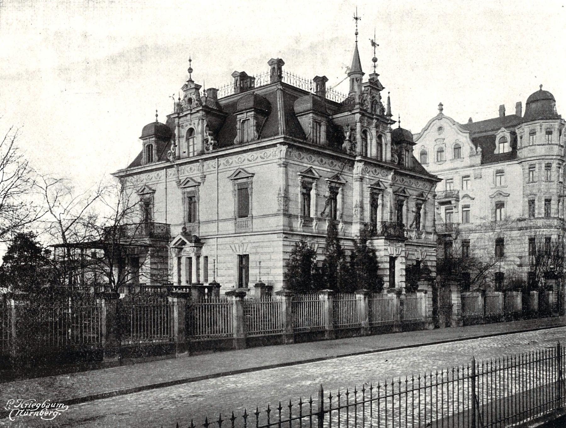 Villa Engelhardt an der Königswarterstraße 80 in Fürth, ca. 1909