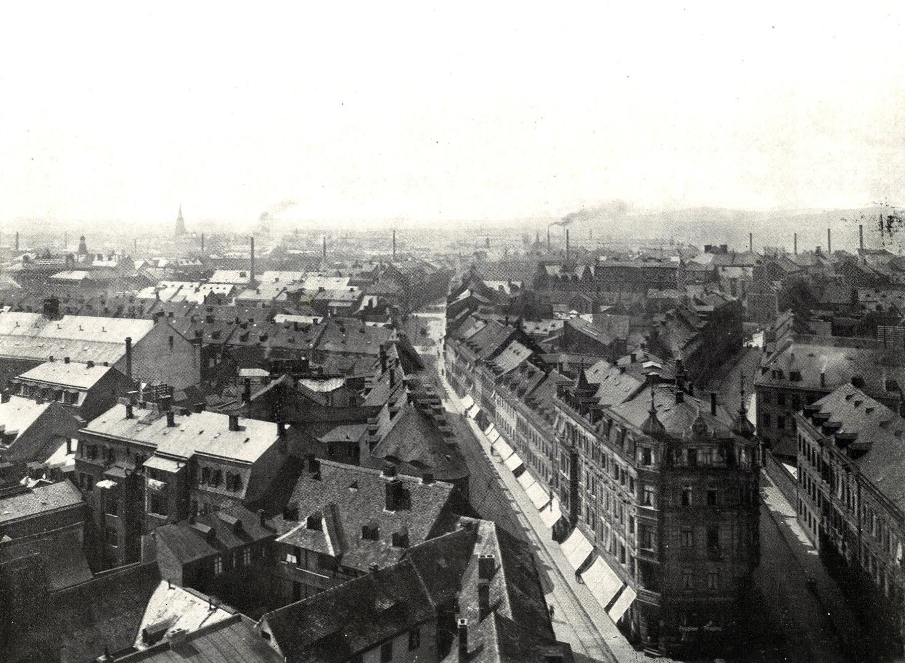 Blick vom Rathausturm Richtung Südosten 1909