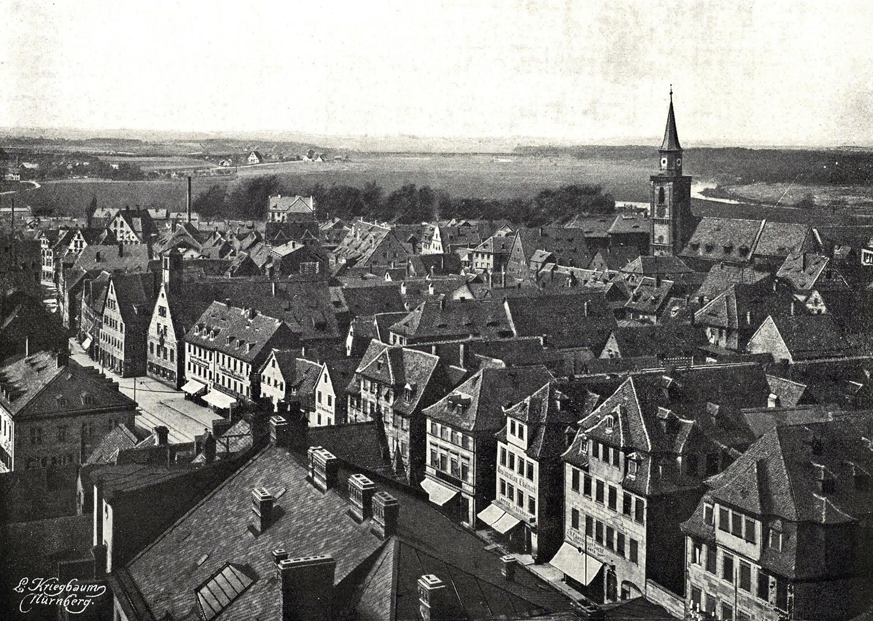 Blick vom Rathausturm Richtung Nordwesten 1909