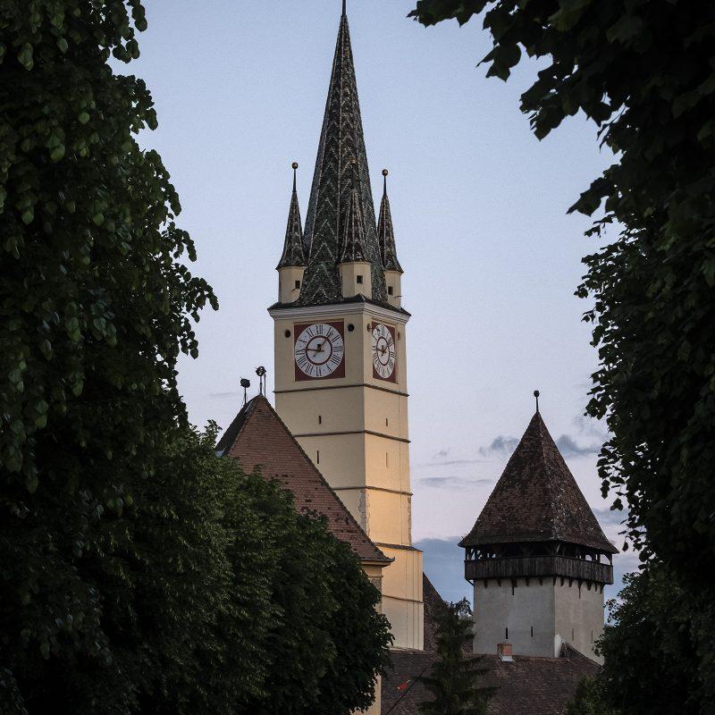Mediasch / Mediaș / Medgyes, Margarethenkirche (Trompeterturm)